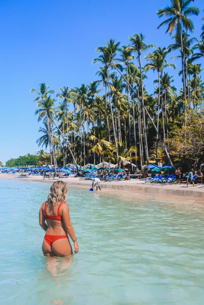 Enjoying the clear water of Isla Tortuga