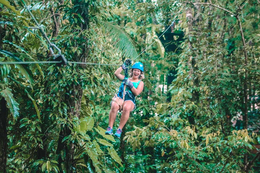 Zip-lining through the tree tops of Tortuguero National Park
