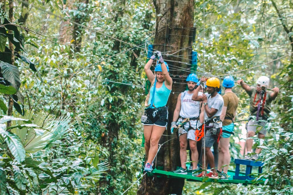 A wire you had to balance on to go from one tree to the next during our zip-line and canopy tour in Tortuguero
