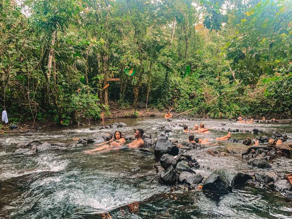The free thermal pools close to Arenal Volcano