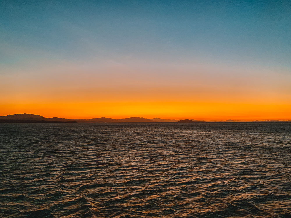 Sunset from the ferry on the way back to San Jose