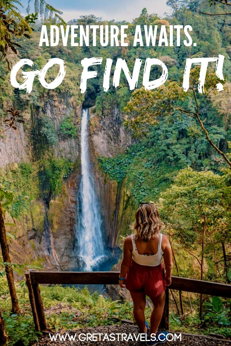 Blonde girl looking at Catarata del Toro waterfall in Costa Rica with text overlay saying