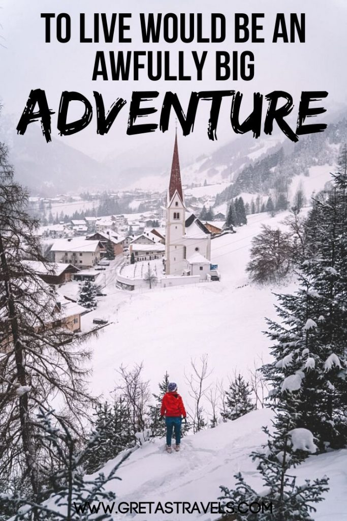 """Girl in a red coat overlooking a snowy landscape with text overlay saying """"To live would be an awfully big adventure"""" - an adventure quote by Peter Pan"""