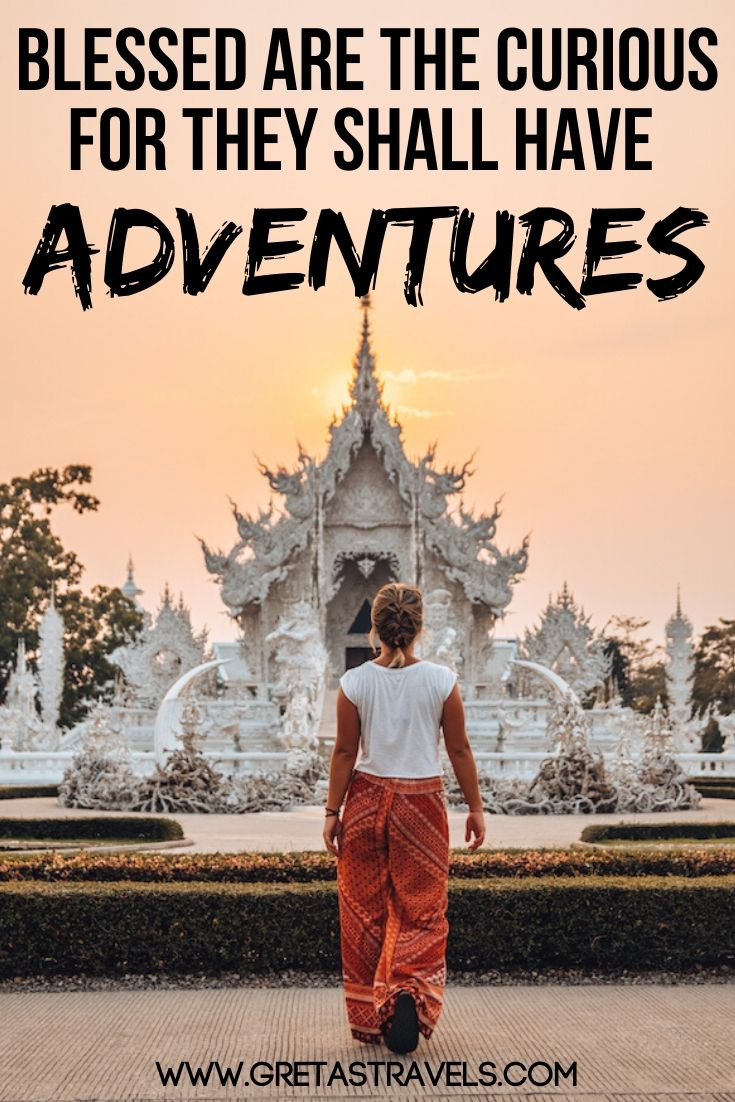 Blonde girl walking in front of the White Temple in Chiang Rai, Thailand, with text overlay saying