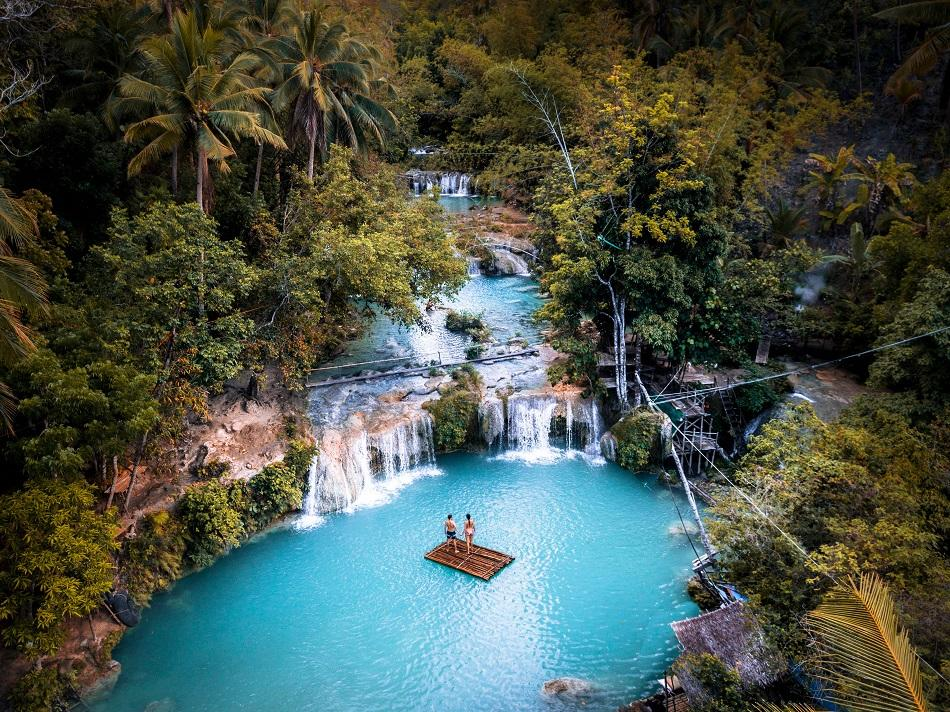 Drone photo of Cambugahay Falls - photo by Daily Travel Pill