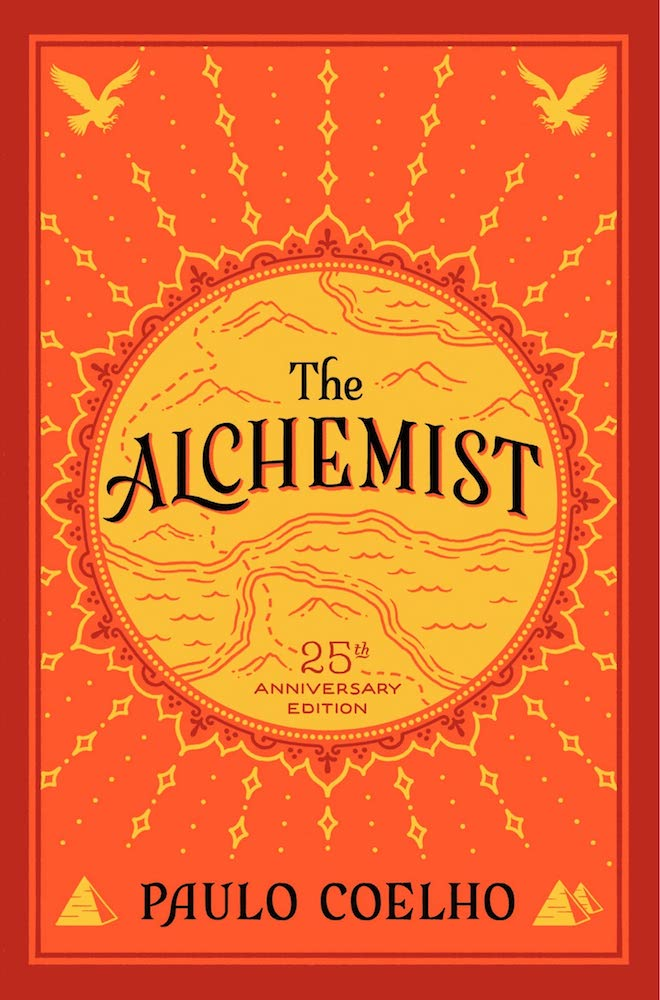 """Front cover of the book """"The Alchemist: A Fable about Following Your Dream"""" by Paulo Coelho"""