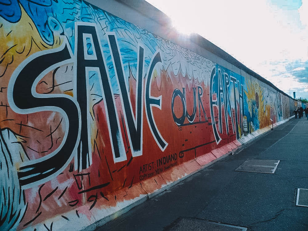 One of the graffiti at East Side Gallery in Berlin