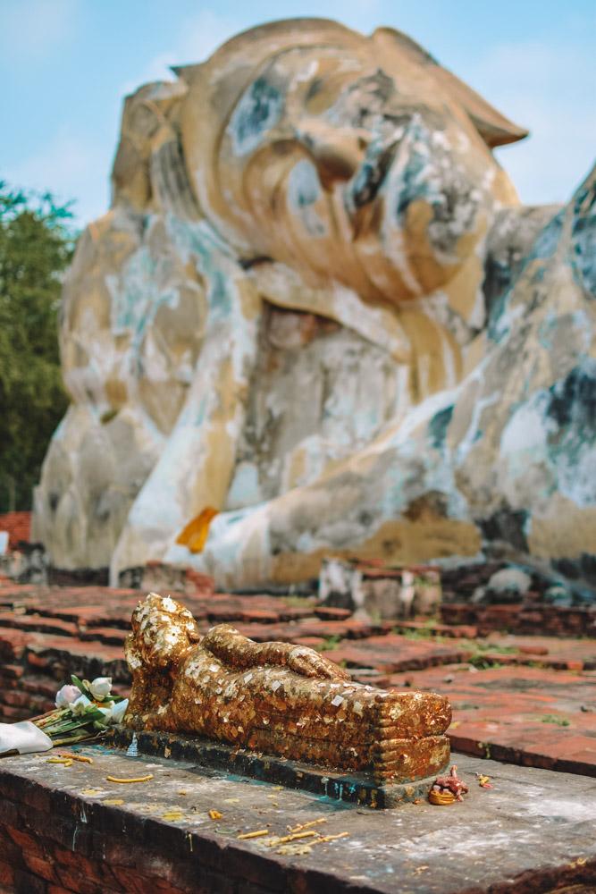The giant reclining Buddha of Wat Lokayasutharam in Ayutthaya