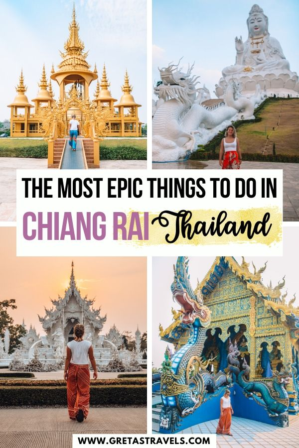 """Collage of the temples in Chiang Rai with text overlay saying """"The ultimate Chiang Rai itinerary"""""""