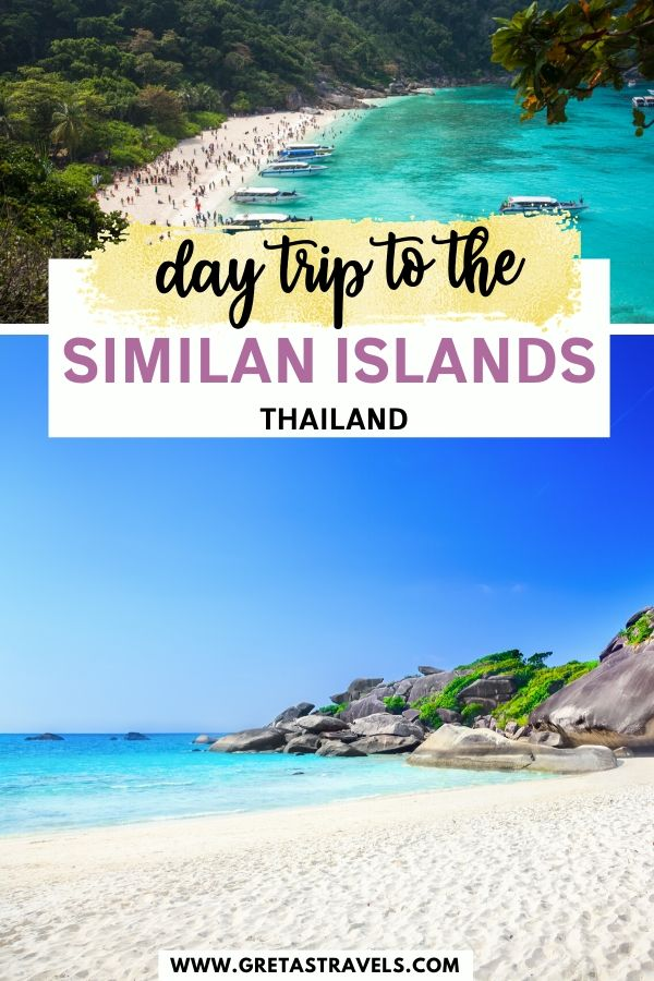 """Collage of beautiful beaches in the Similan Islands with text overlay saying """"day trip to the Similan Islands, Thailand"""""""