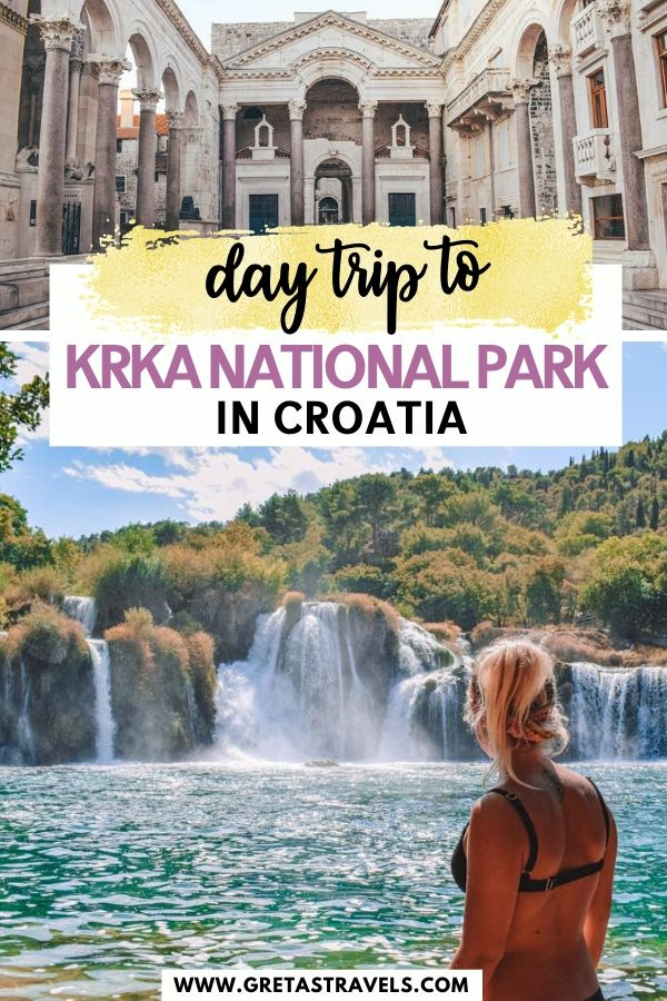 """Collage of Diocletian's Palace and Skradinski Buk Falls with text overlay saying """"day trip to Krka National Park in Croatia"""""""