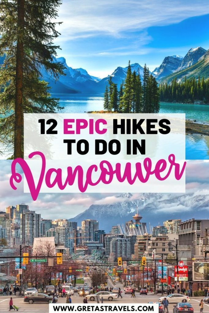 """Collage of the Vancouver skyline and Banff lake with text overlay saying """"12 epic hikes to do in Vancouver"""""""