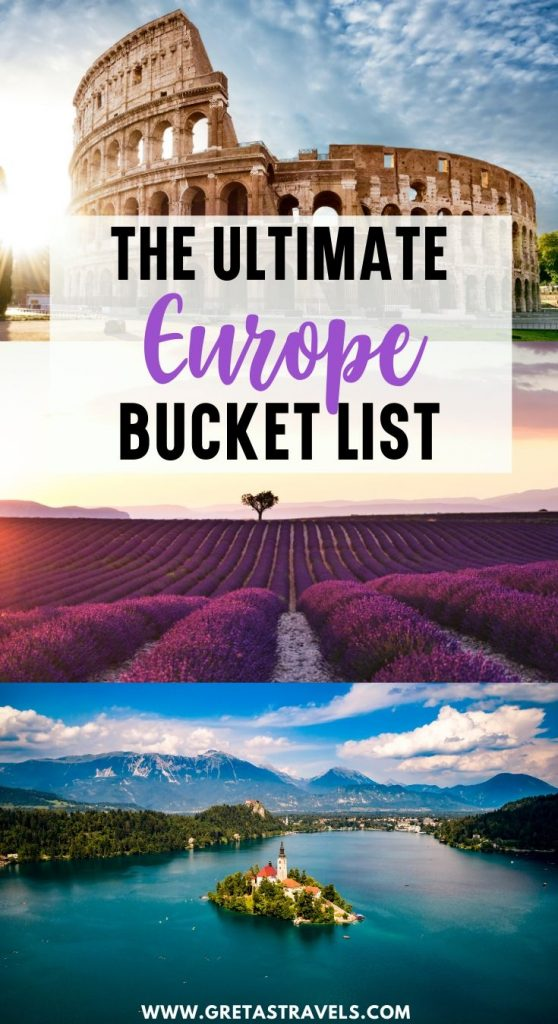 """Collage of Lake Bled, the lavender fields of Provence and the Colosseum with text overlay saying """"the ultimate Europe bucket list"""""""