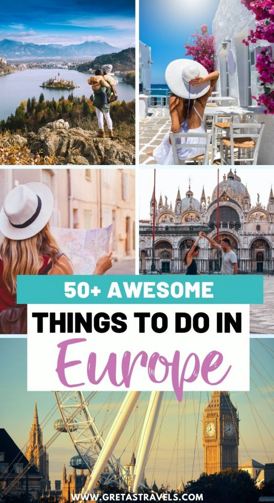 """Collage of London, Venice, Santorini and Lake Bled with text overlay saying """"50+ awesome things to do in Europe"""""""