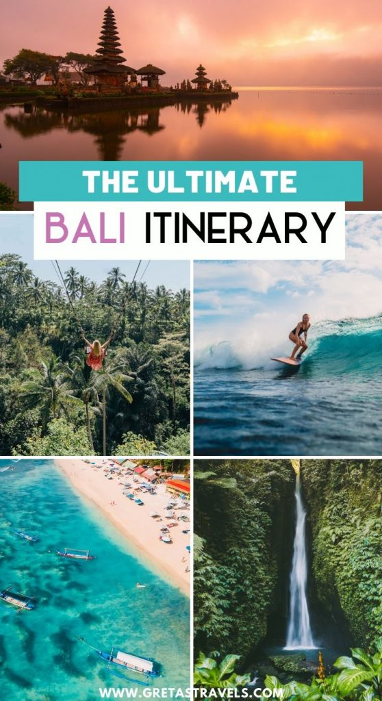 """Collage of Ulun Danu Beratan Temple, the Bali swing in Ubud, a girl surfing, a drone beach shot and Munduk waterfall with text overlay saying """"the ultimate Bali itinerary"""""""