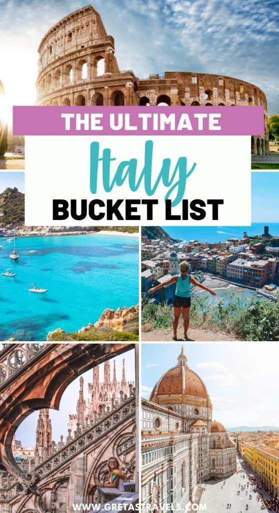 """Collage of the Colosseum, Sardinia, Florence, Cinque Terre and Venice with text overlay saying """"the ultimate Italy bucket list"""""""