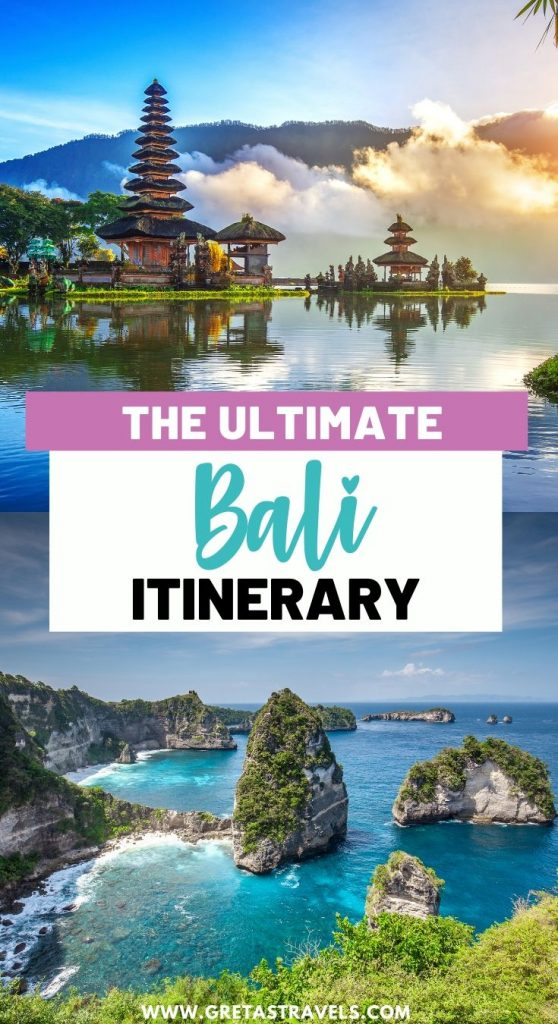 """Collage of Ulun Danu Beratan Temple and the coast of Nusa Penida with text overlay saying """"the ultimate Bali itinerary"""""""