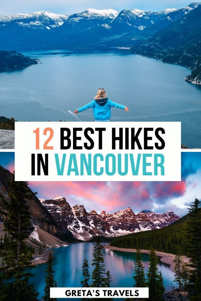 """Collage of Stawamus Chief and Banff Lake with text overlay saying """"12 best hikes in Vancouver"""""""