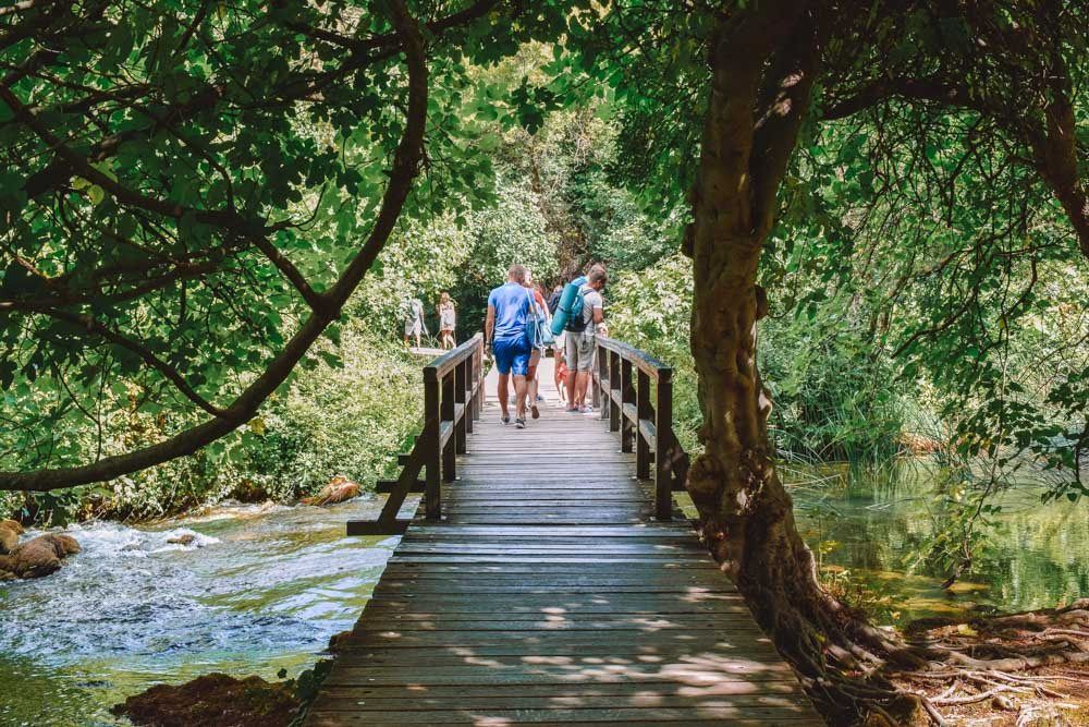 Walking along one of the main trails in Krka National Park