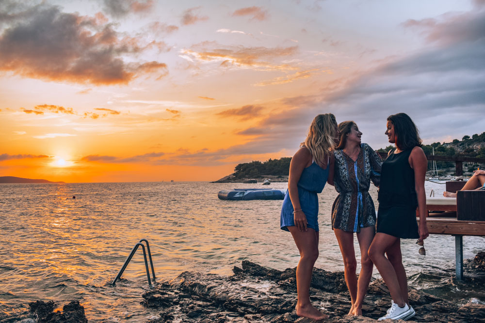 Me and my friends enjoying the sunset at Hula Hula Beach Bar in Hvar