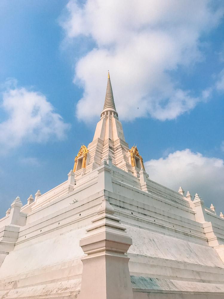 The white chedi of Wat Phu Khao Thong
