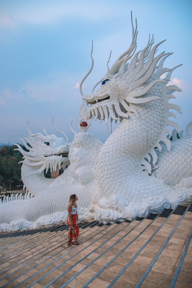 The dragon staircase at Wat Huay Pla Kung