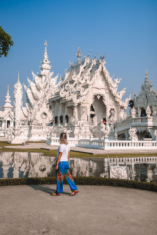 Exploring Wat Rong Khun, the famous White Temple in Chiang Rai, during the day
