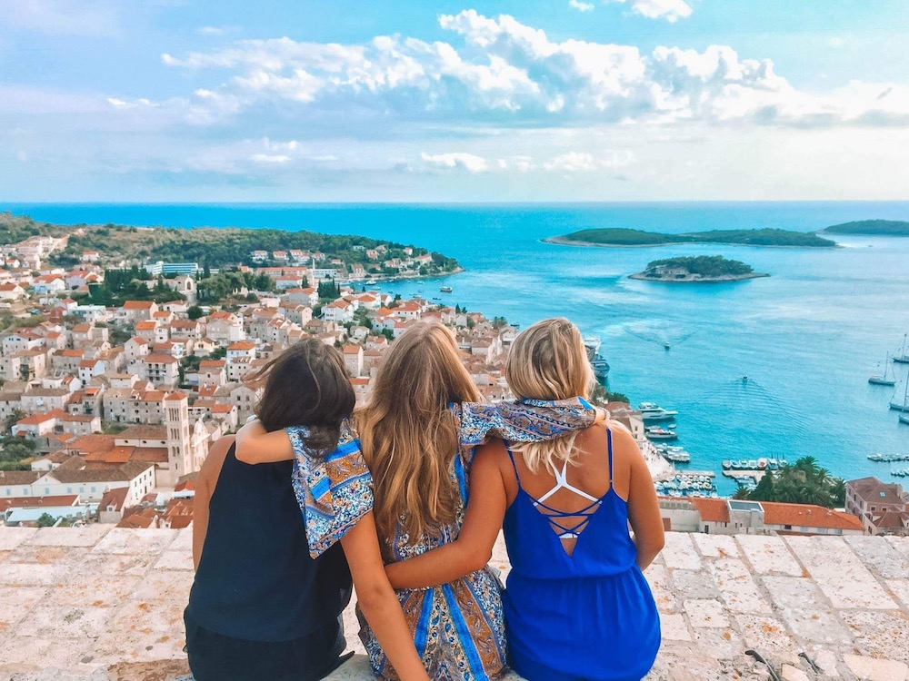 Enjoying the view over Hvar from Fortica