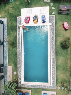 Drone shot of the pool at Pondok Homestay in Canggu