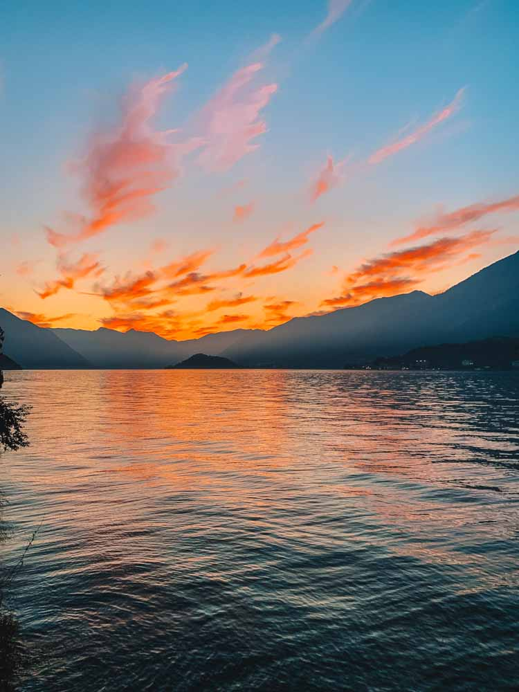 Sunset over Lake Como as seen from Bellagio