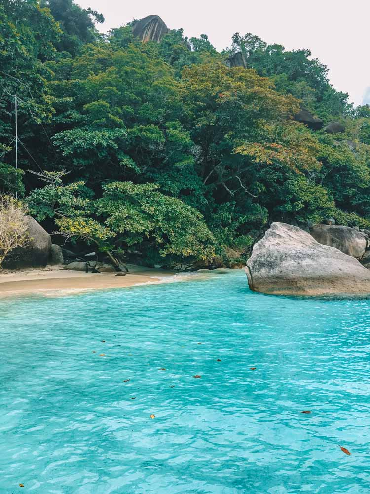 The turquoise water of the Similan Islands in Thailand