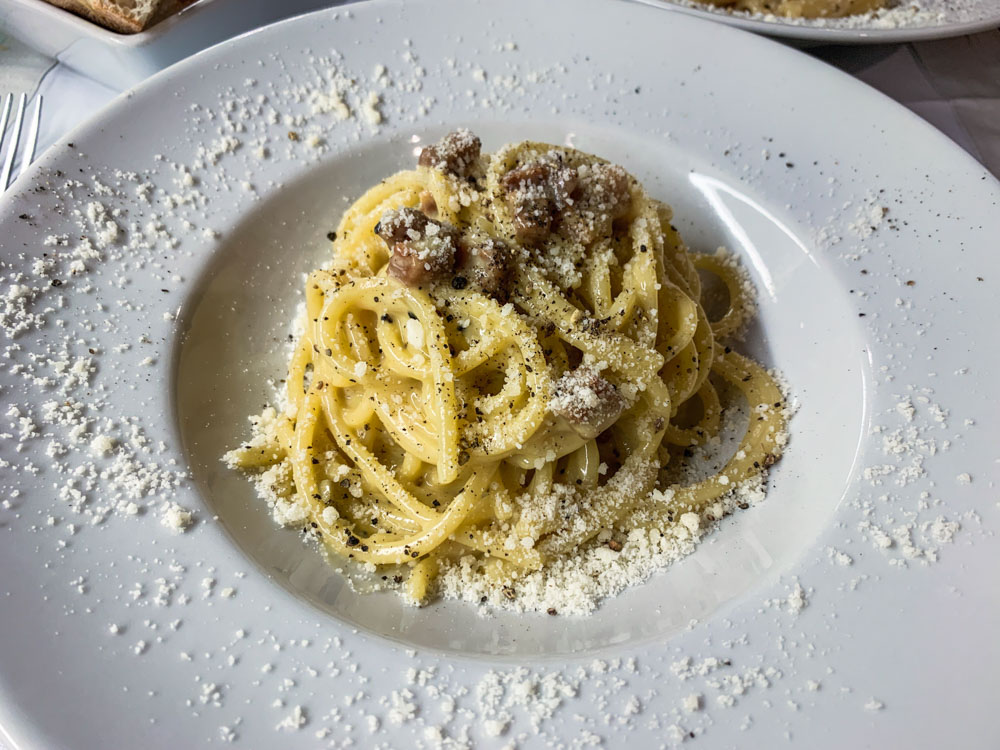 Eating spaghetti carbonara in Rome