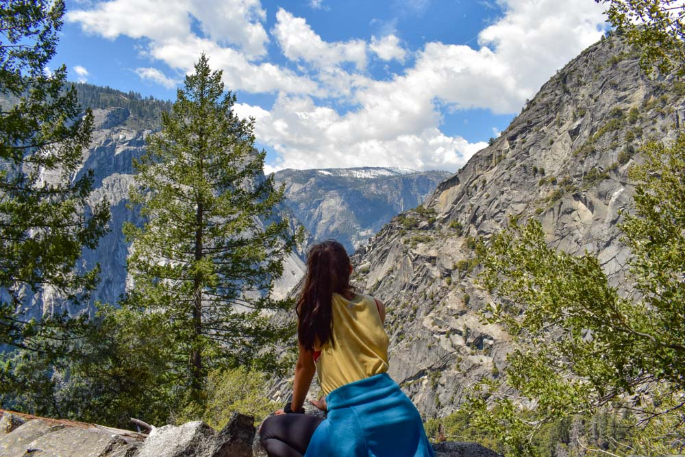 Geena admiring the view during the Mist Trail in Yosemite National Park