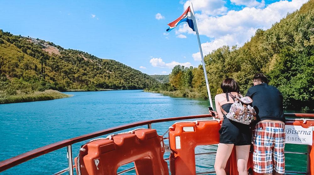 Enjoying the view during the ferry journey from Skradin to Skradinski Buk