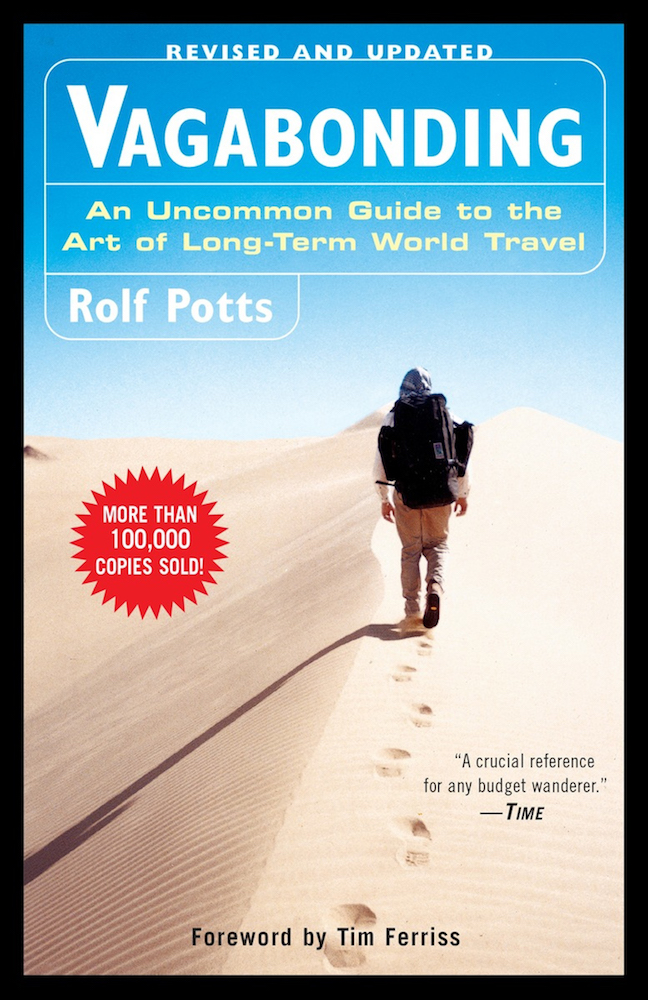 """The front cover of """"Vagabonding: An Uncommon Guide to the Art of Long-Term World Travel"""" by Rolf Potts"""