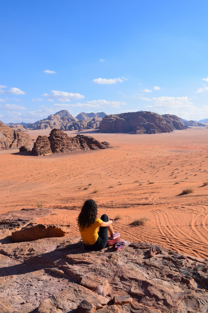 Enjoying the view over the Wadi Rum desert from Lawrence's House