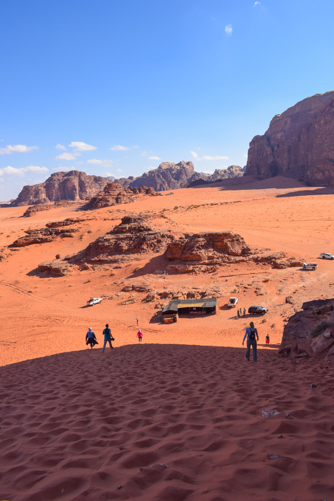 Desert views from the top of the sand dunes in the Wadi Rum