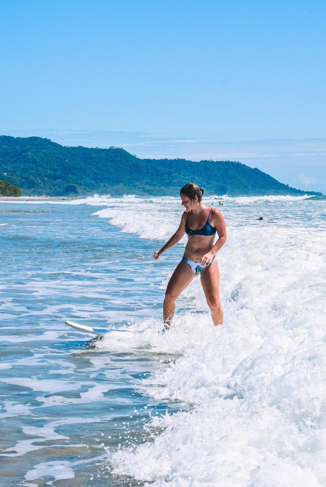 Surfing in Santa Teresa Beach in Costa Rica