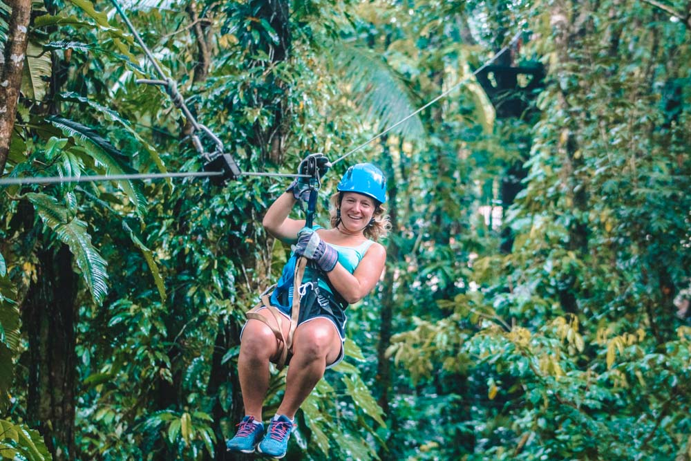 Enjoying a canopy and zipline tour in Costa Rica