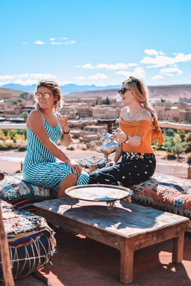 Me and Marta enjoying one of the tea spots in Ouarzazate and Aït Benhaddou