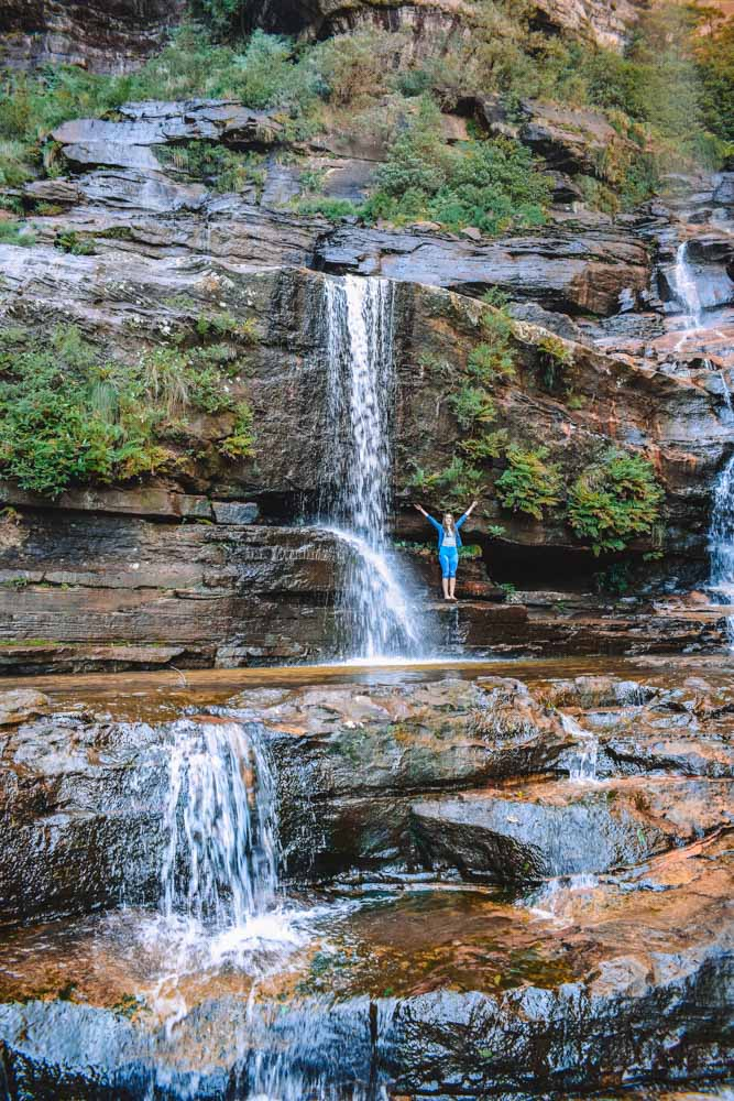 Exploring the base of Wentworth Falls in Blue Mountains