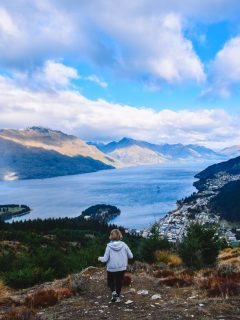 Enjoying the view from the peak of Queenstown Hill in New Zealand