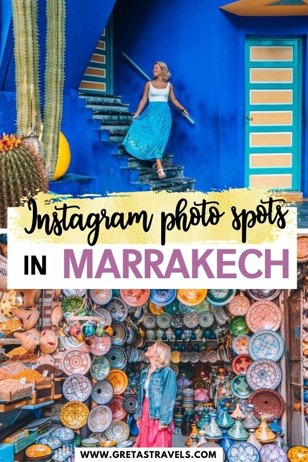 """Photo collage of the souks of Marrakech and Jardin Majorelle with text overlay saying """"Instagram photo spots in Marrakech"""""""