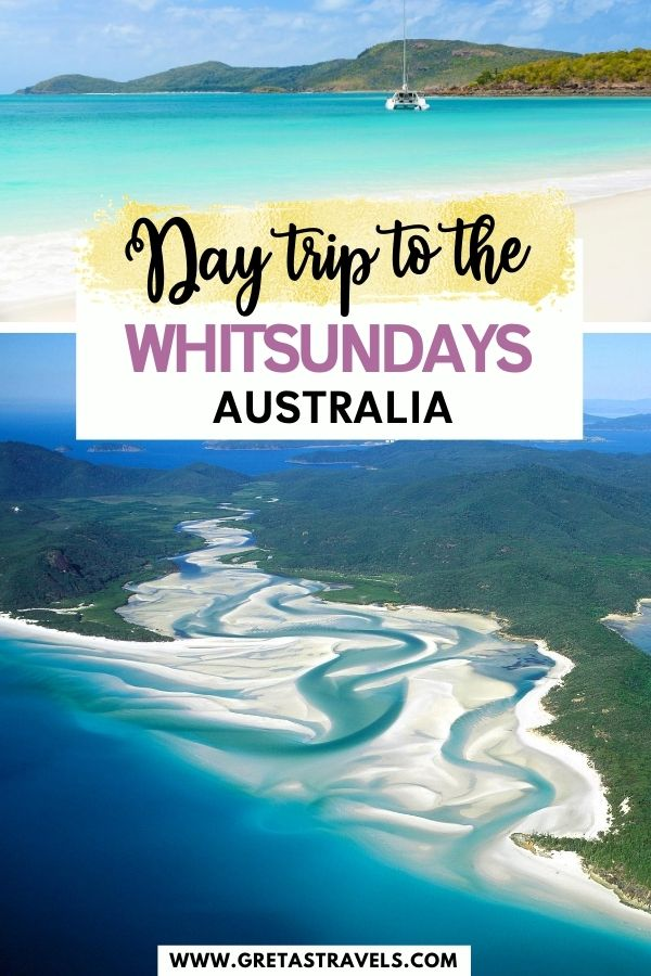 """Photo collage of Whitehaven Beach and a drone shot of Whitsunday Island with text overlay saying """"day trip to the Whitsundays, Australia"""""""
