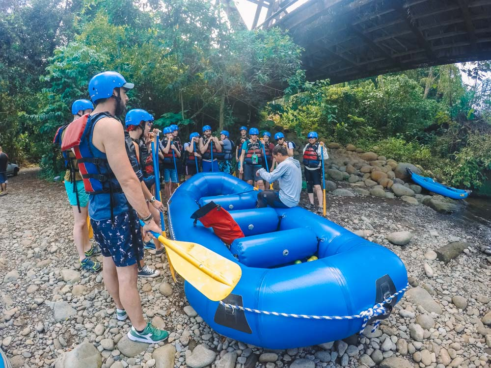 Safety and how-to explanation before our Costa Rican rafting experience