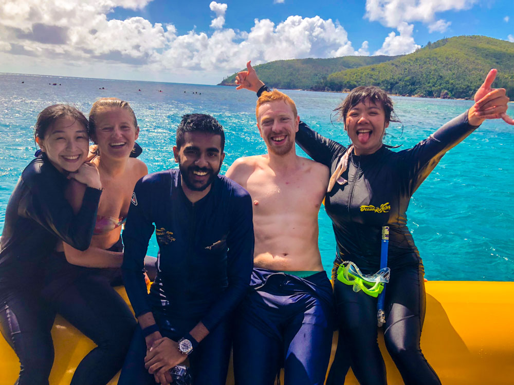 My friends and I during our speedboat day tour to the Whitsundays