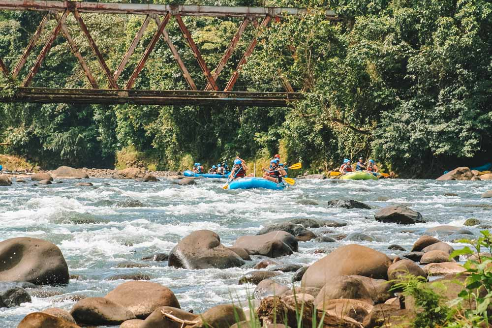 Rafting along a calm part of the Sarapiqui River in Costa Rica