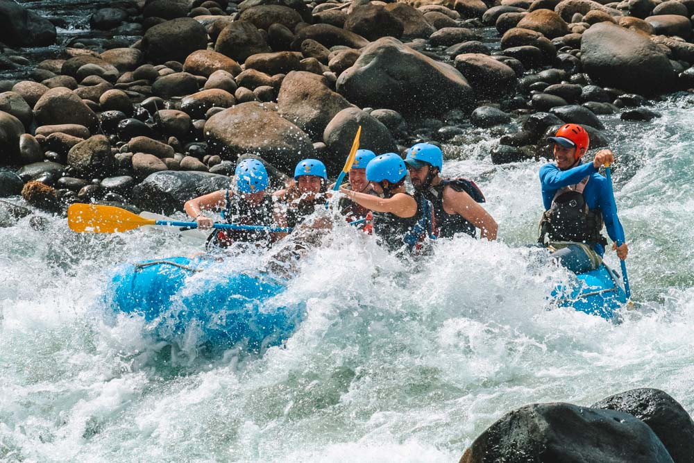Catching some waves during our Costa Rica rafting