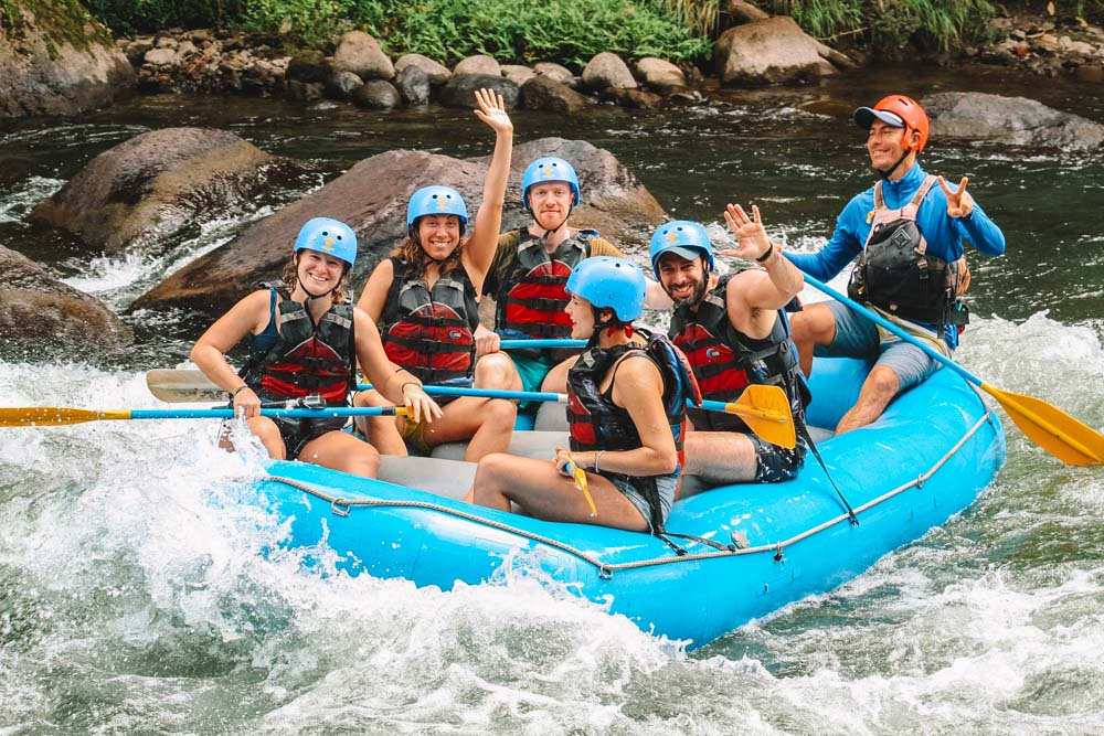 Happy faces at the end of our rafting experience in Costa Rica
