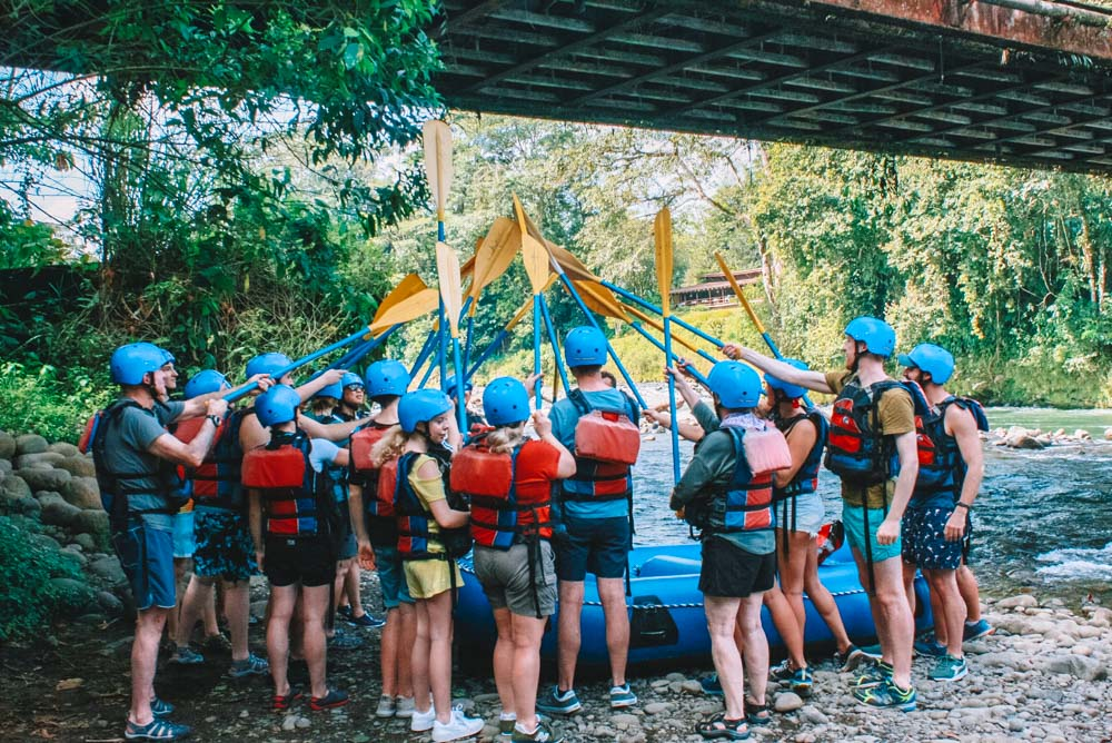 Getting ready to go rafting in Costa Rica